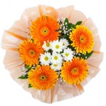 Bouquet of chrysanthemums and gerberas