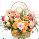 Basket with colored roses