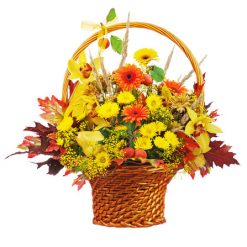 photodune 5847669 colorful flower bouquet arrangement centerpiece in wicker basket xs
