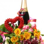 Bouquet of fine roses and wine