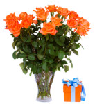 bouquet of  orange roses in vase with gift box