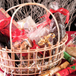 Christmas hamper basket with a chocolate santa
