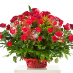Basket with fifty red roses