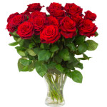 bouquet of blossoming dark  red roses in vase