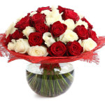 Floral compositions of red and white roses. A large bouquet