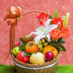 Basket of fruit and flower